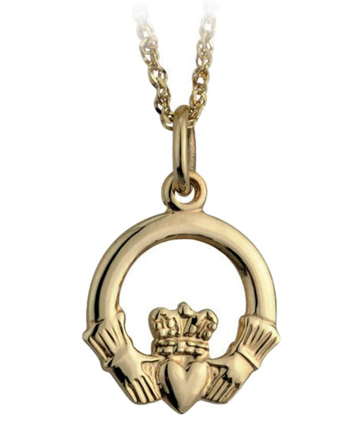 Gold Claddagh Pendant Solvar Celtic Jewellery