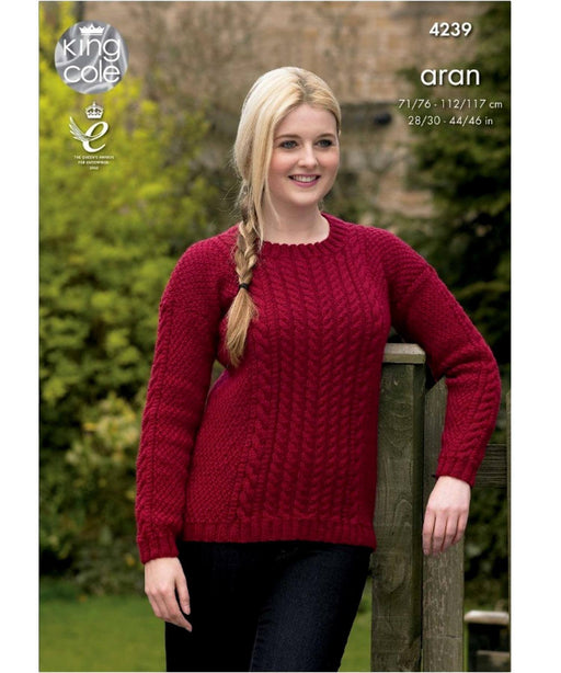 King Cole Aran Pattern 4239 Springwools Knitting