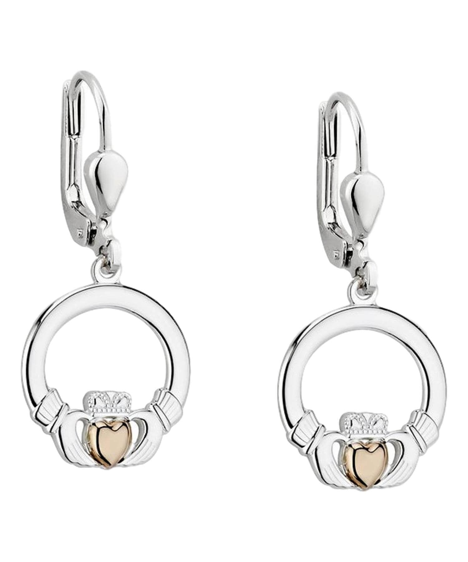 Gold Heart Claddagh Drop Earrings Solvar Celtic Jewellery