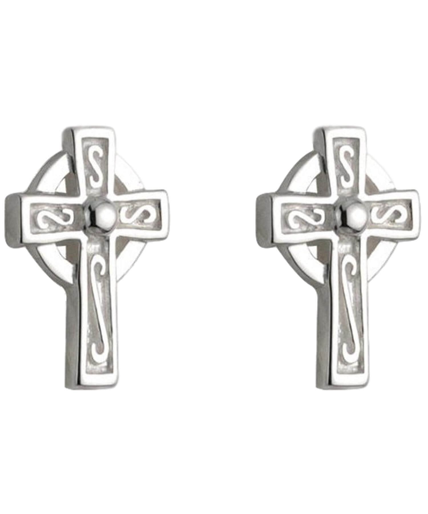 Celtic Cross Stud Earrings - [Solvar] - Jewellery - Irish Gifts