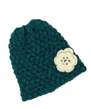Wool Floral Cap - Sea Green - [Jimmy Walsh] - Ladies Hats & Headbands - Irish Gifts