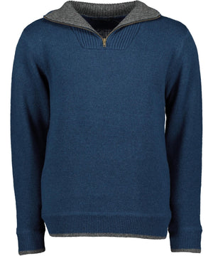 Contrast Half Zip Lambswool Sweater - Lagoon Blue - [Irelands Eye] - Mens Sweaters & Cardigans - Irish Gifts