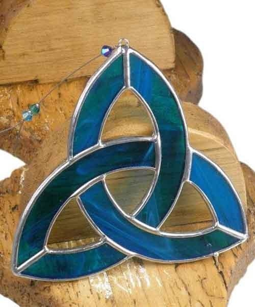 Stained Glass Small Triquetra - Aqua Ard aLume Souvenir