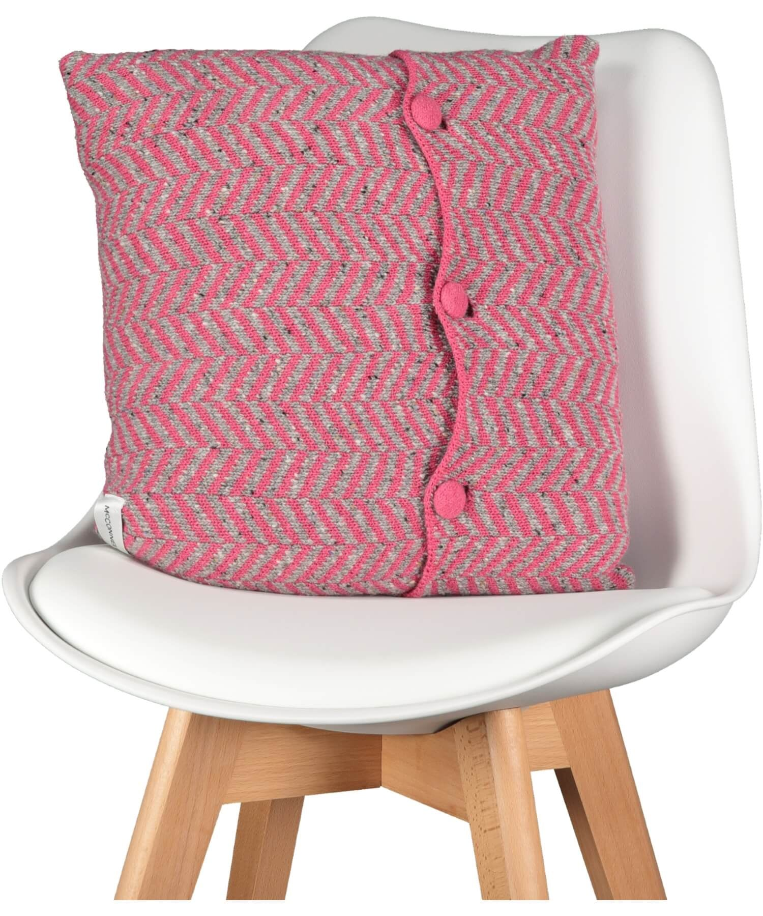 "Herringbone 18"" Cushion - Pink - [McConnell] - Throws & Cushions - Irish Gifts"