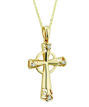 Gold Cubic Zirconia Cross Pendant - [Solvar] - Jewellery - Irish Gifts