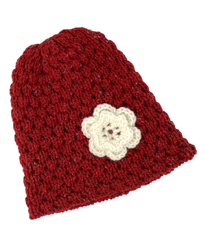 Wool Floral Cap - Red - [Jimmy Walsh] - Ladies Hats & Headbands - Irish Gifts