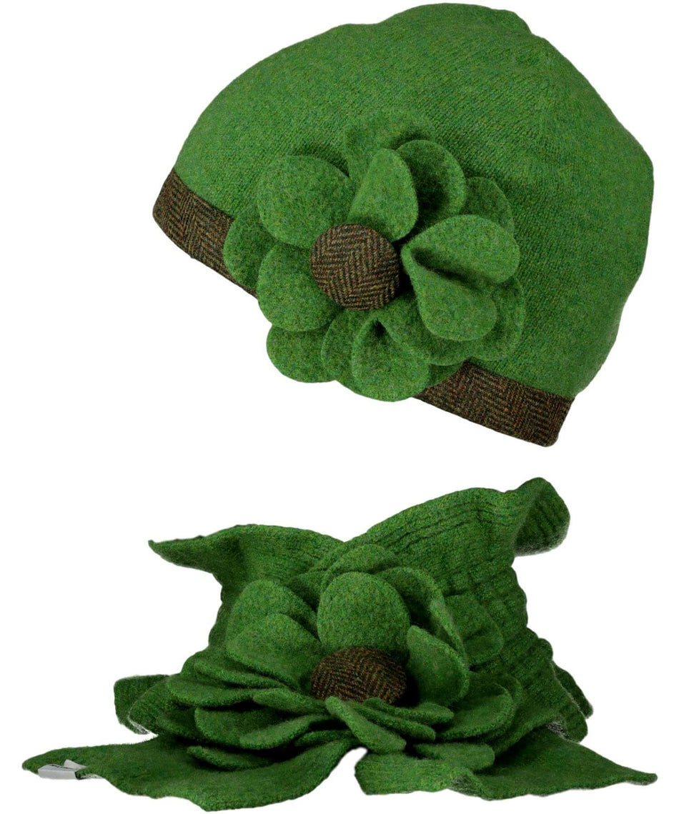 Floral Beanie - Lime - [McConnell] - Ladies Hats & Headbands - Irish Gifts