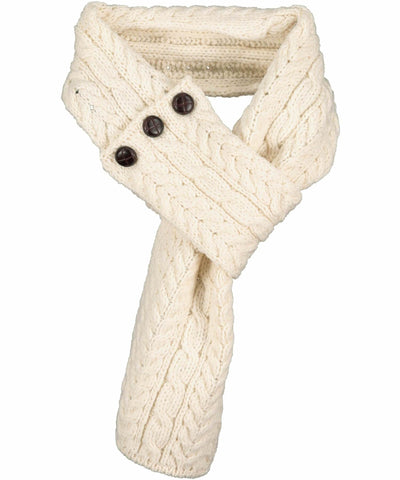 Buttoned Loop Scarf - Natural - [Aran Woollen Mills] - Ladies Scarves & Gloves - Irish Gifts