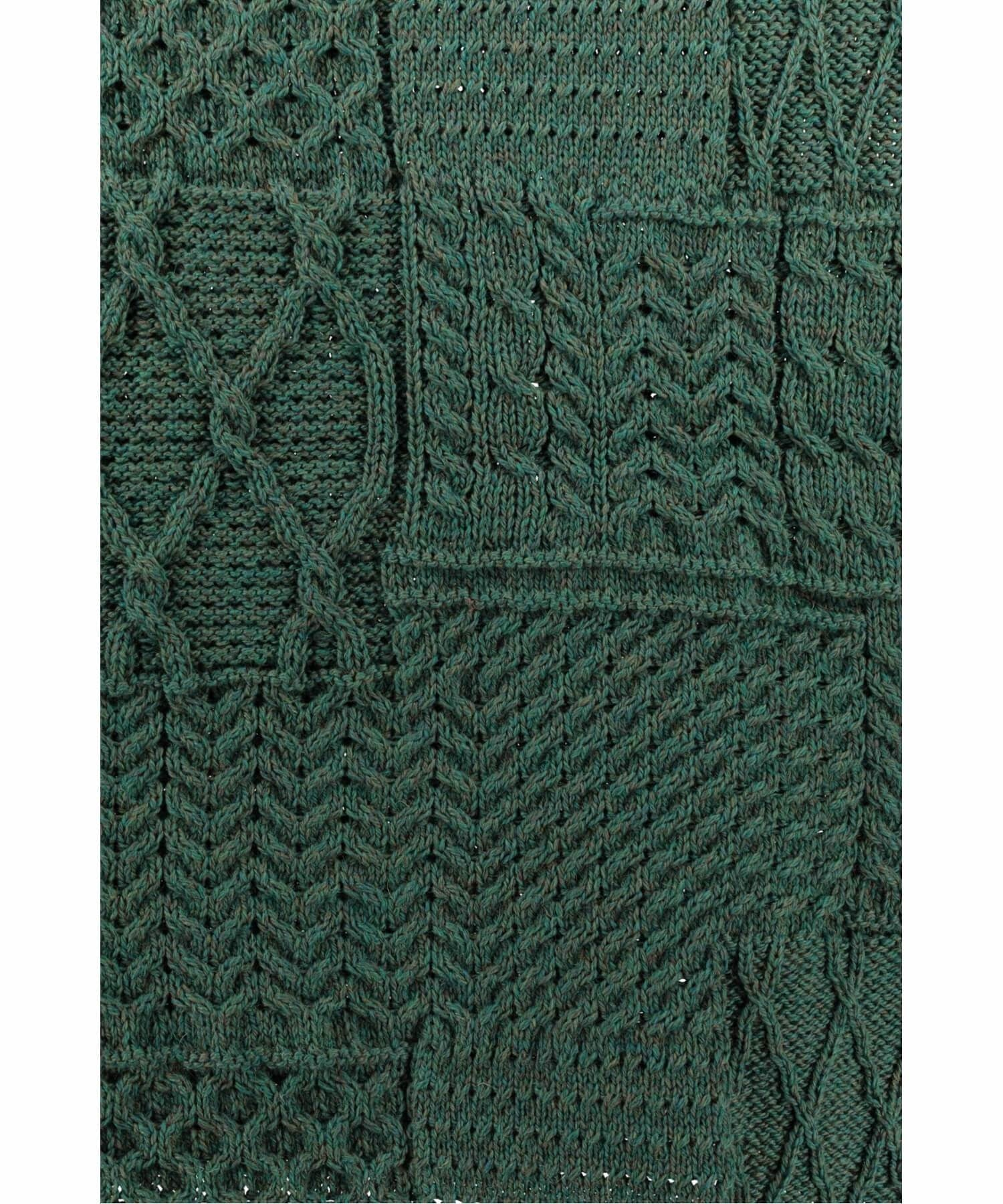 Plaited Aran Merino Throw - Connemara Green - [Aran Woollen Mills] - Throws & Cushions - Irish Gifts