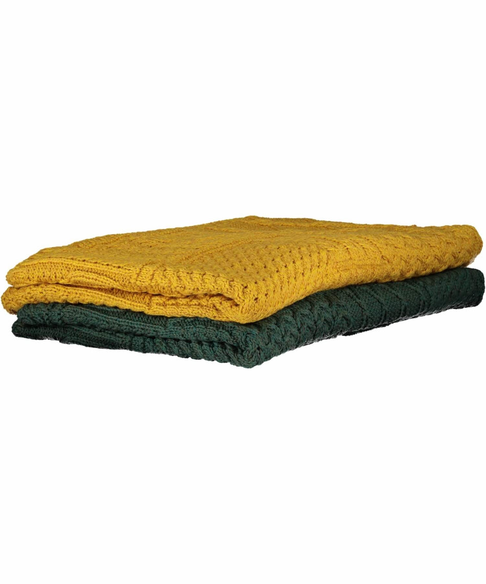 Plaited Aran Merino Throw - Sunflower - [Aran Woollen Mills] - Throws & Cushions - Irish Gifts