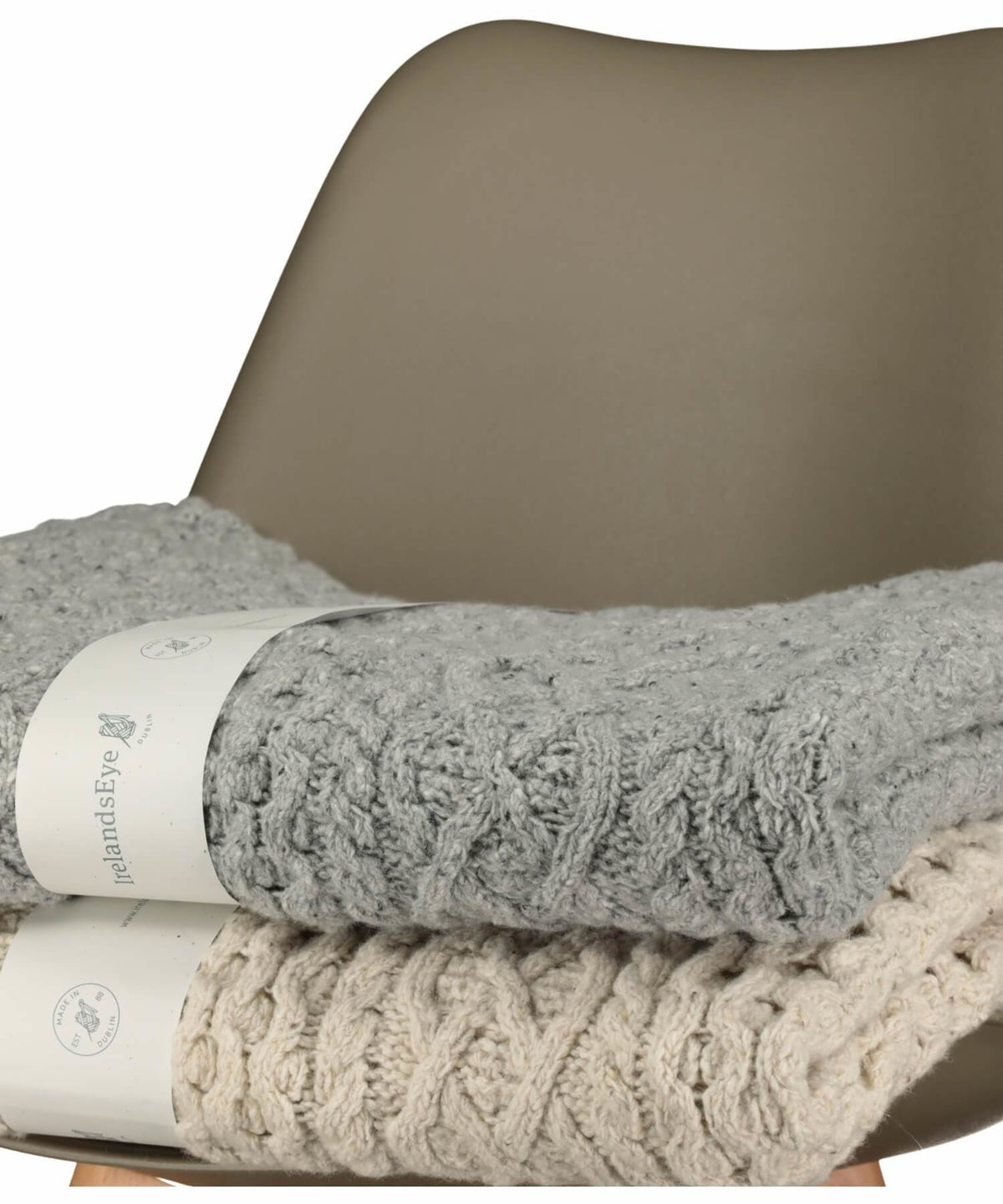 Cashmere Wool Throw - Light Grey - [Irelands Eye] - Throws & Cushions - Irish Gifts