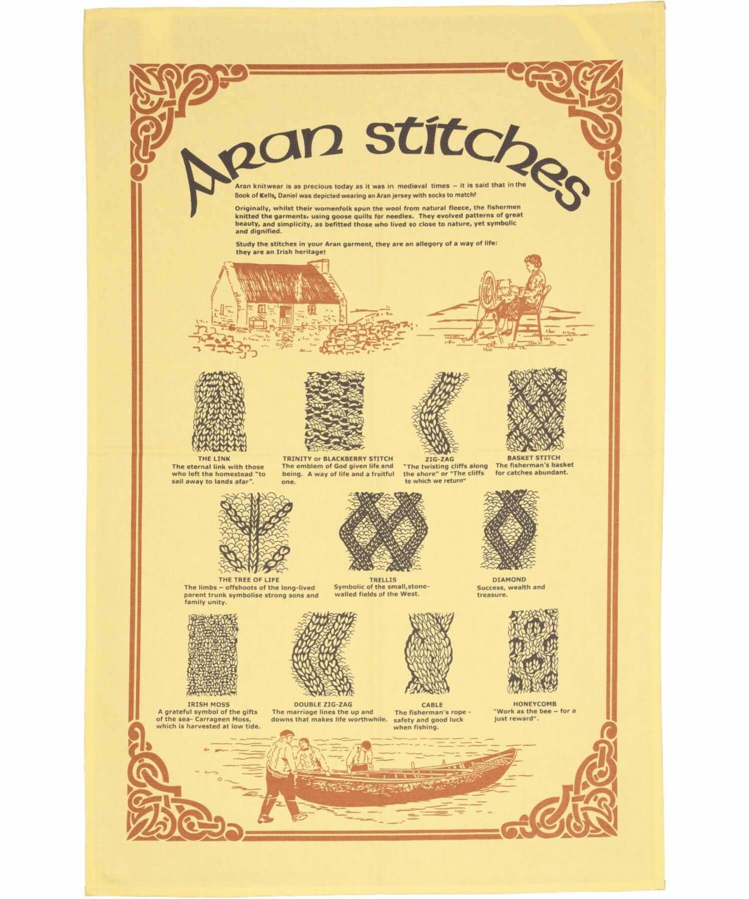 Aran Stitch Tea Towel - [Grange Crafts] - Kitchen & Dining Textiles - Irish Gifts