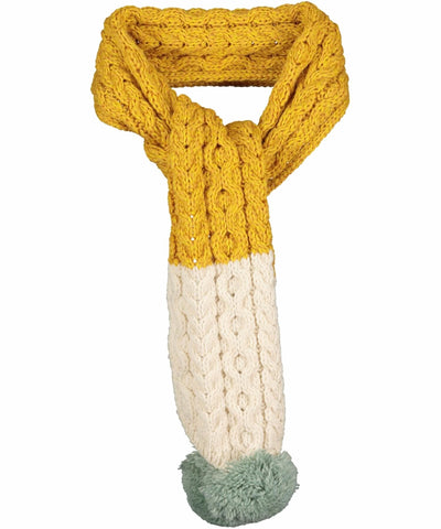 Kids Merino Scarf - Sunflower Yellow & White - [Aran Woollen Mills] - Childrens Hats, Scarves & Gloves - Irish Gifts
