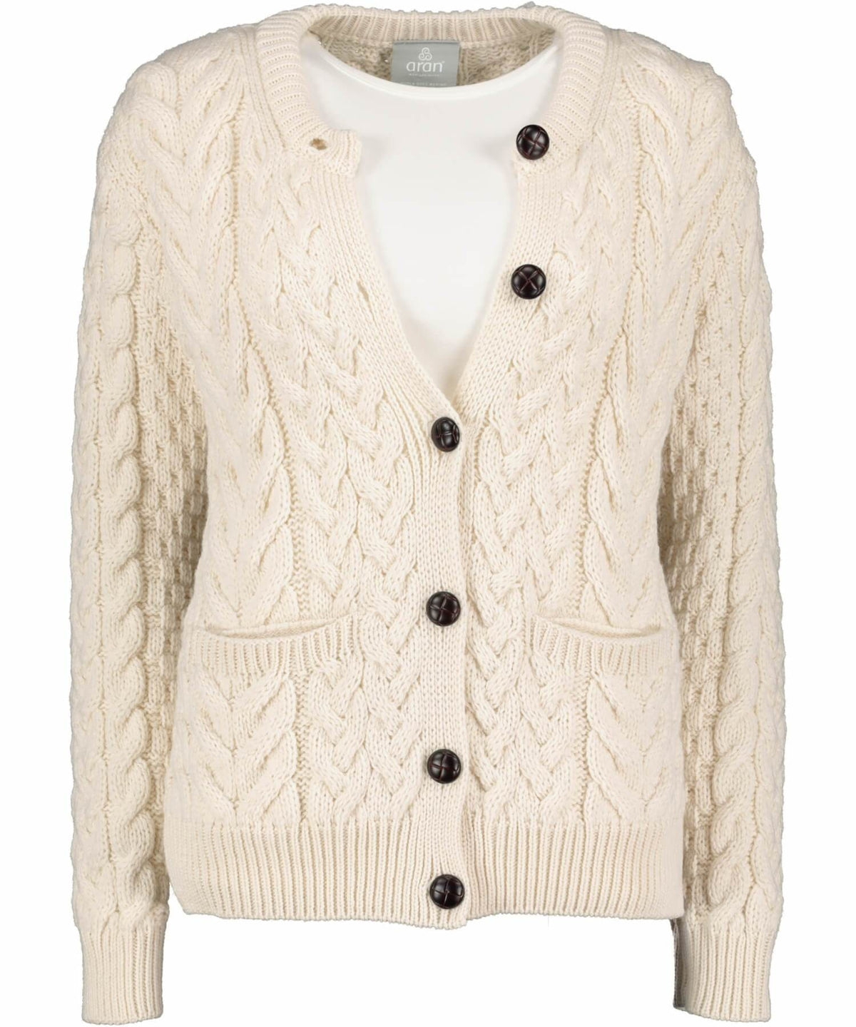 Supersoft Button Cardigan - Classic Aran - [Aran Woollen Mills] - Ladies Sweaters & Cardigans - Irish Gifts