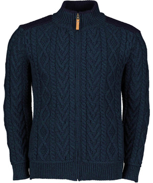 Boyne Patch Shoulder Cardigan - Sherwood - [Aran Crafts] - Mens Sweaters & Cardigans - Irish Gifts