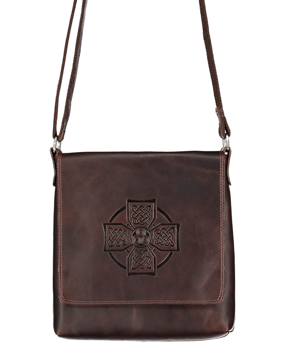 Celtic Embossed Satchel Bag - Brown - [Lee River] - Bags, Purses & Wallets - Irish Gifts