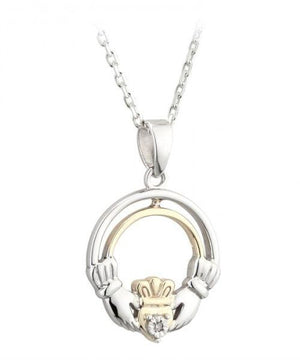 Gold and Silver Claddagh Pendant - [Solvar] - Jewellery - Irish Gifts