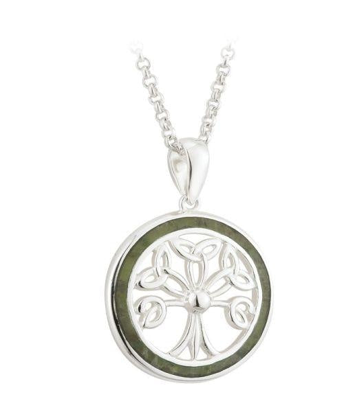 Connemara Marble & Silver Tree of Life Pendant - [Solvar] - Jewellery - Irish Gifts
