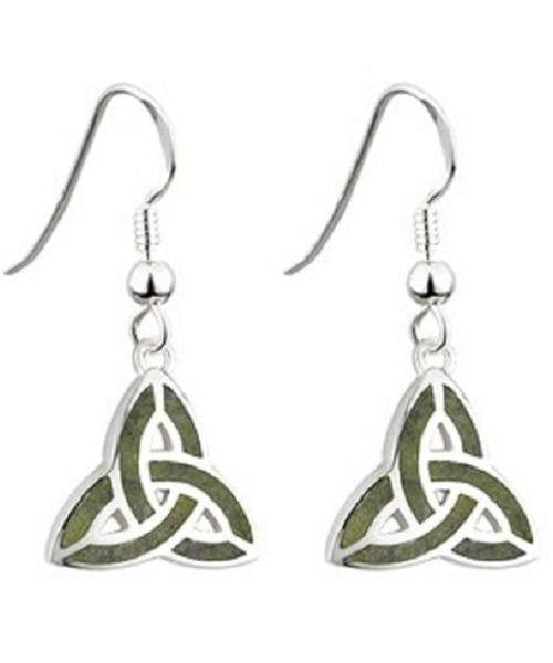 Connemara Marble Trinity Drop Earrings Solvar Celtic Jewellery