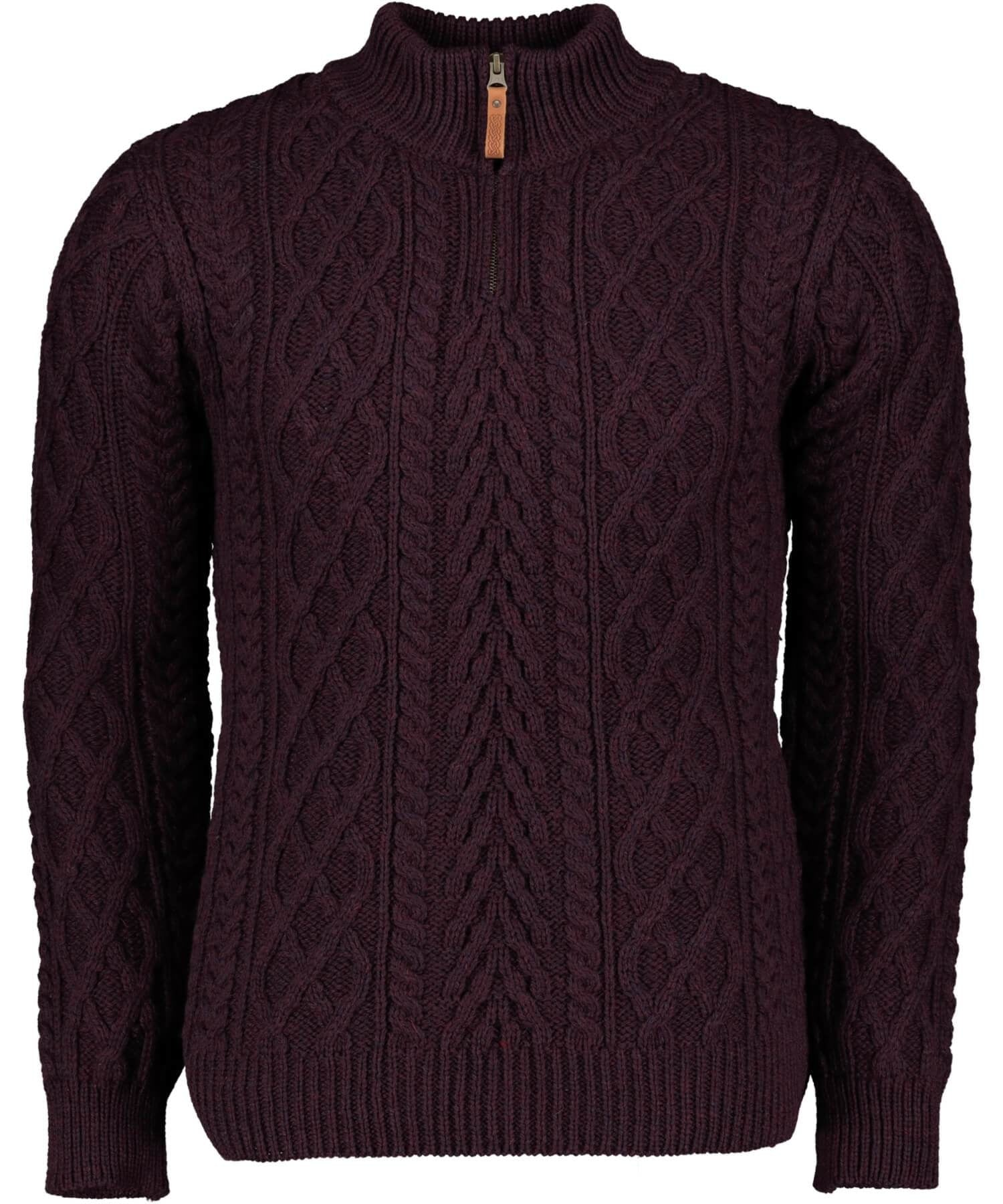 Donegal Half Zip Sweater - Damson - [Aran Crafts] - Mens Sweaters & Cardigans - Irish Gifts