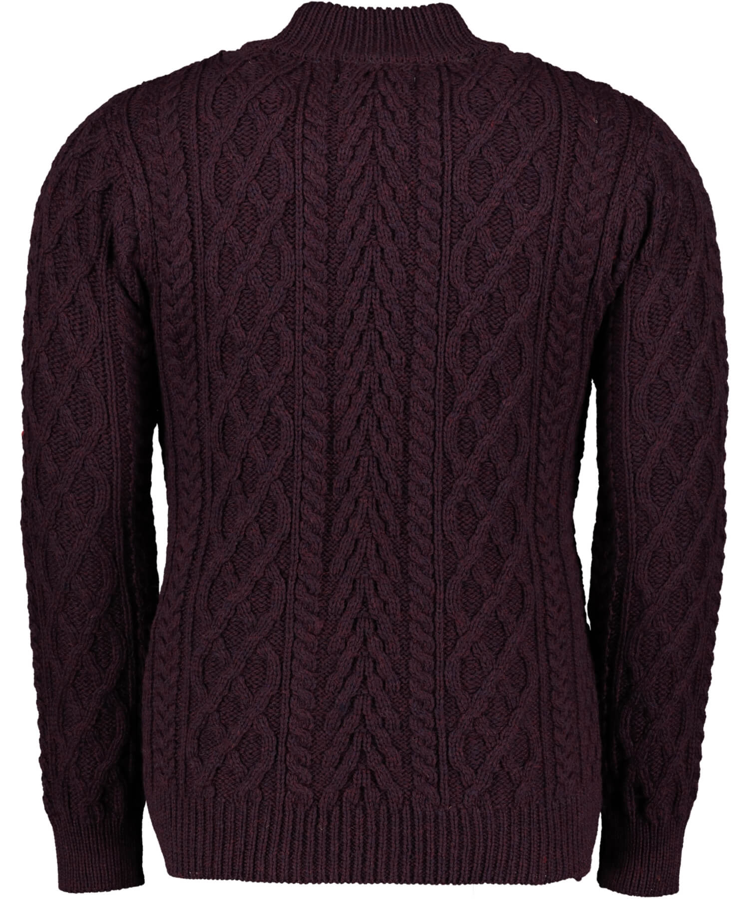 Donegal Half Zip Sweater - Damson Aran Crafts Mens Sweaters & Cardigans