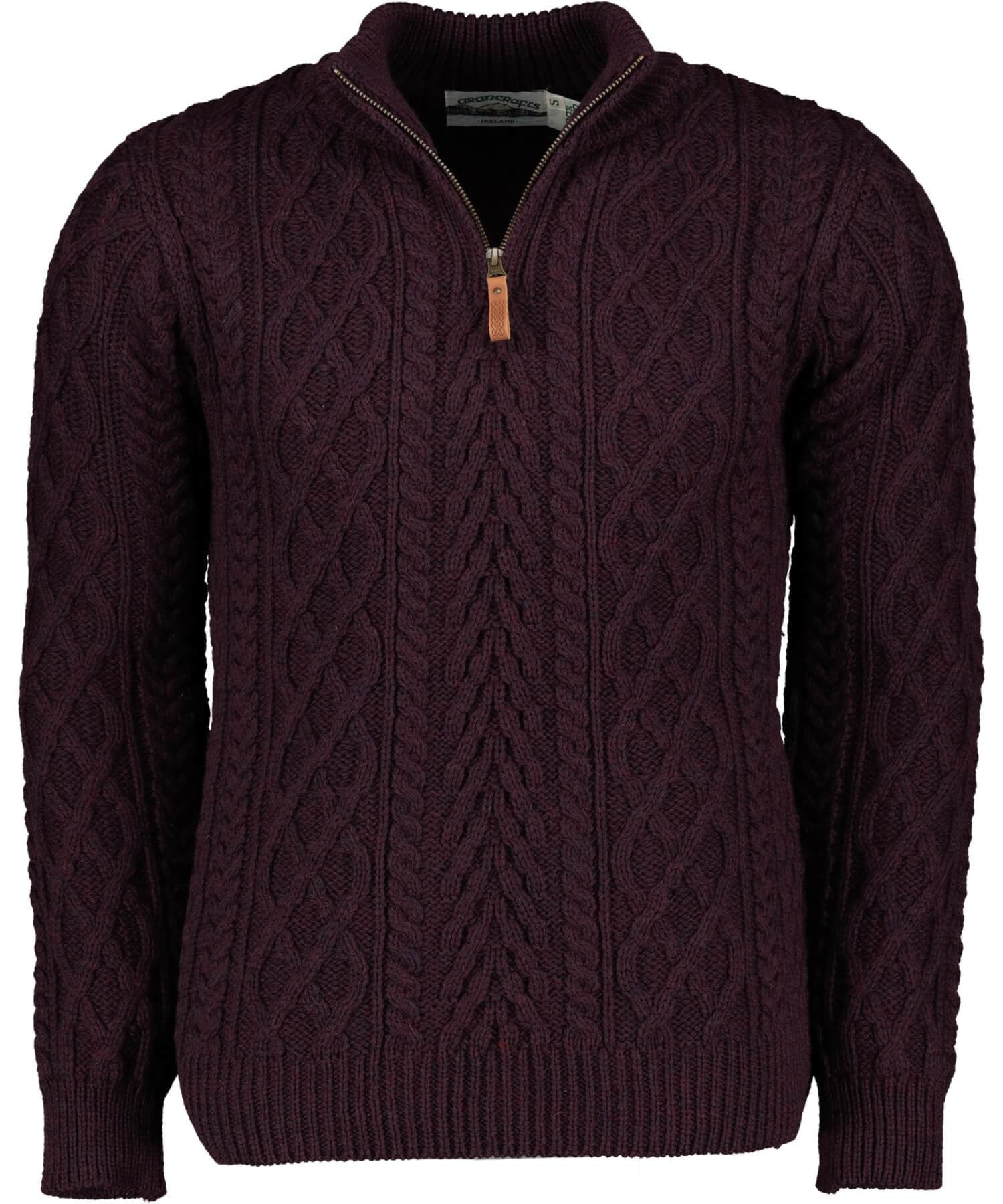Donegal Half Zip Sweater Damson Irish Crafts