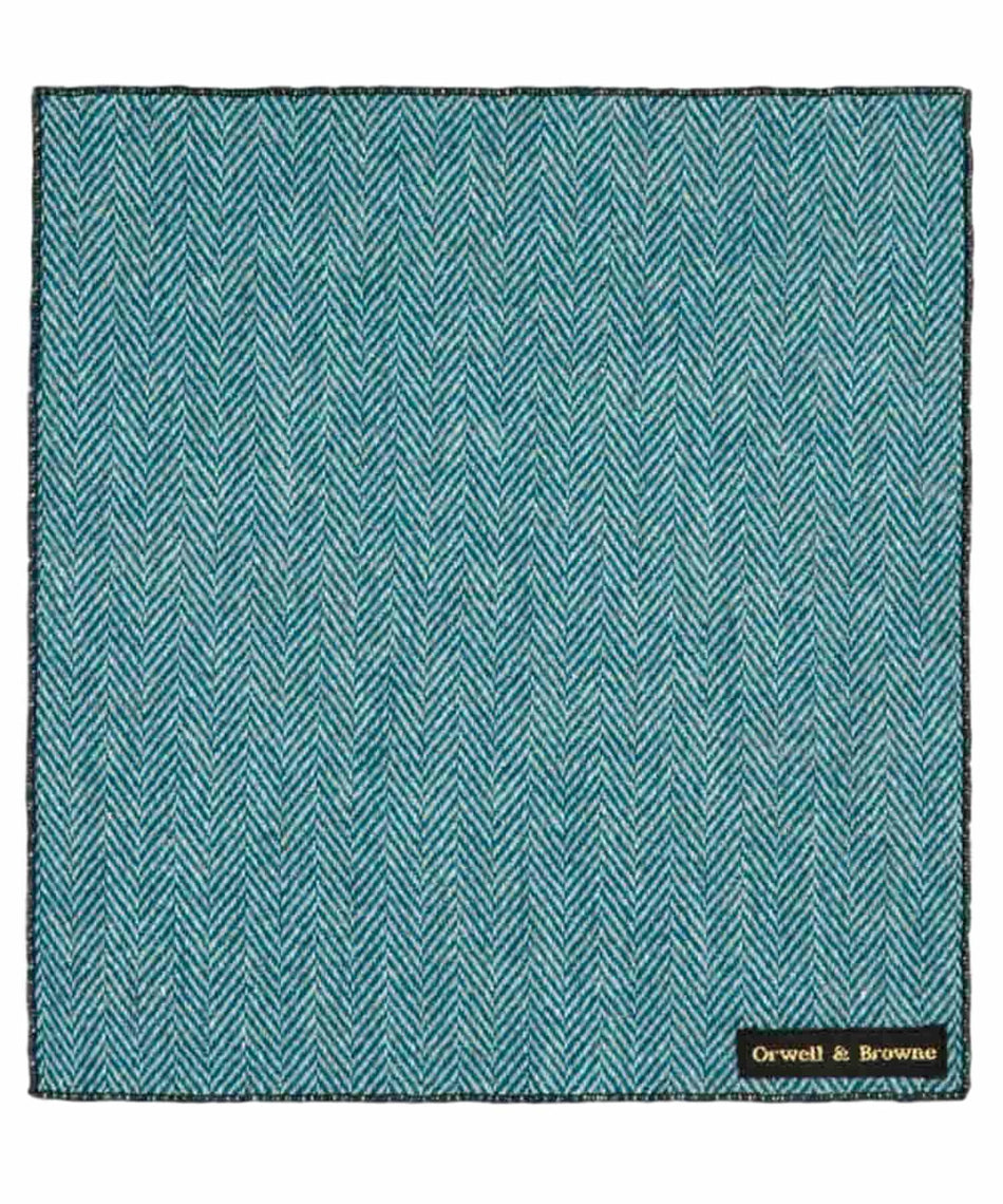 Donegal Tweed Pocket Square - Stippled Turquoise - [Orwell & Browne] - Mens Accessories - Irish Gifts