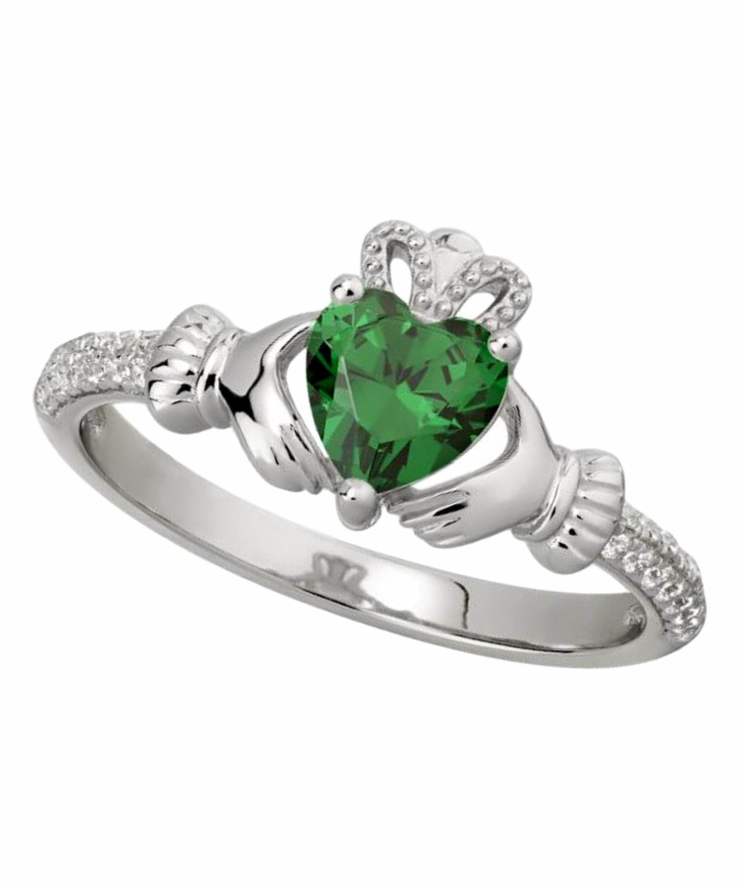 Emerald & CZ Claddagh Ring - [Solvar] - Jewellery - Irish Gifts