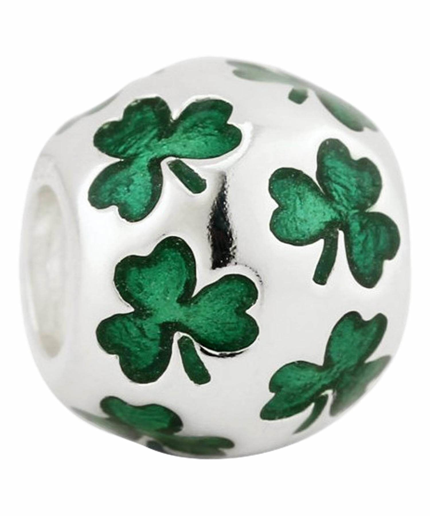 Bead - Enamel Shamrocks Solvar Celtic Jewellery