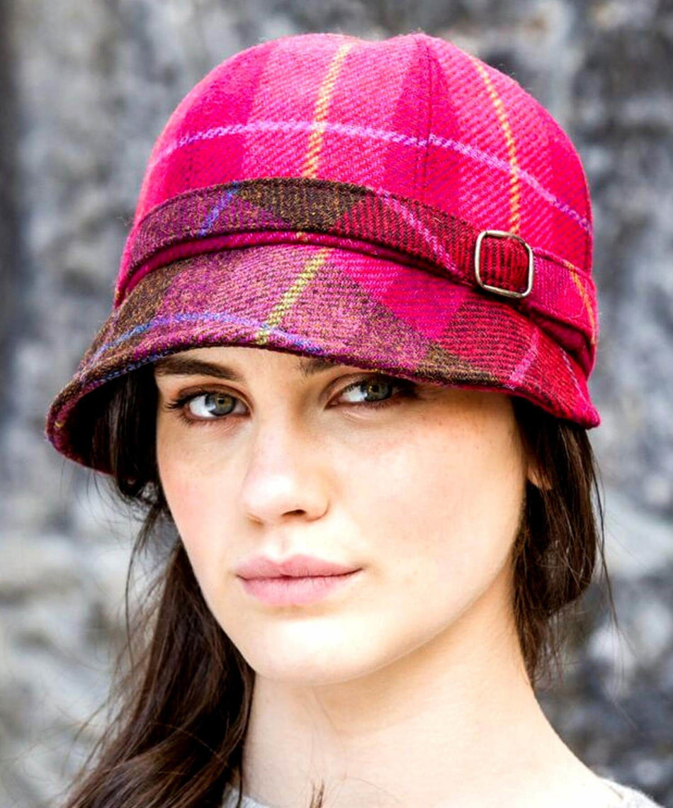 Flapper Hat - Pink Check - [Mucros Weavers] - Ladies Hats & Headbands - Irish Gifts