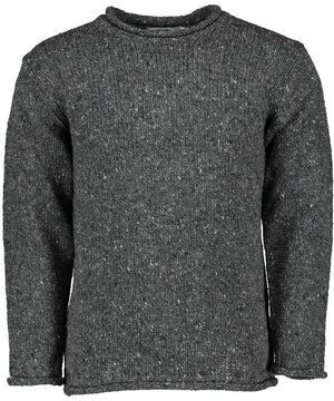 Glenties Curl Neck Sweater - Charcoal - [Aran Crafts] - Mens Sweaters & Cardigans - Irish Gifts