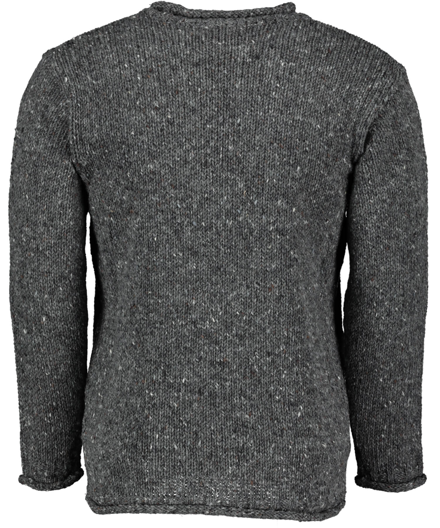 Glenties Curl Neck Sweater - Charcoal Aran Crafts Mens Sweaters & Cardigans