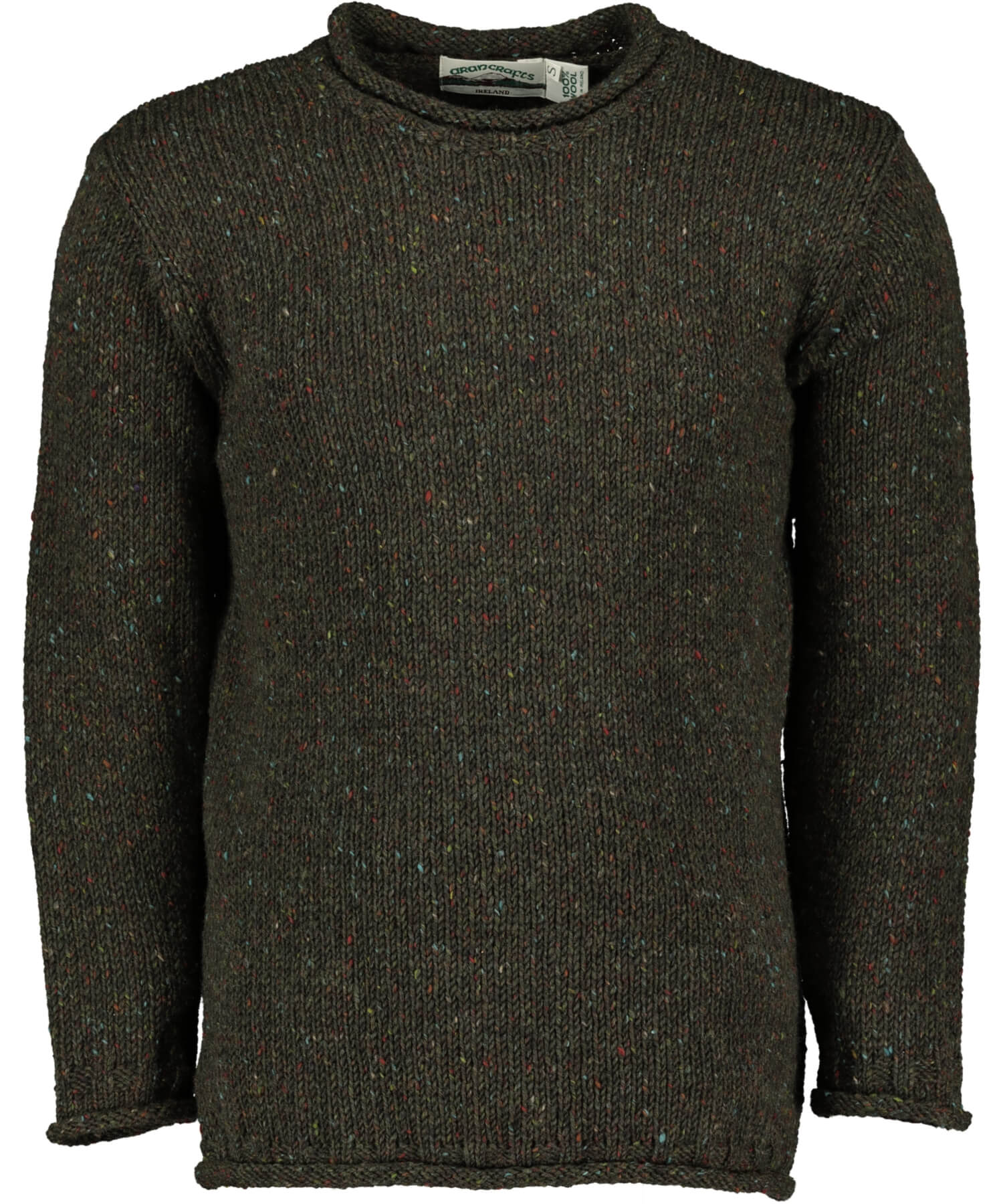 Glenties Curl Neck Sweater - Green Aran Crafts Mens Sweaters & Cardigans