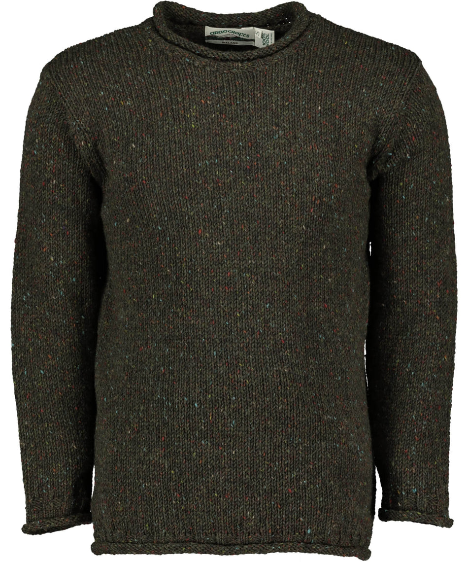 Glenties Curl Neck Sweater - Green - [Aran Crafts] - Mens Sweaters & Cardigans - Irish Gifts