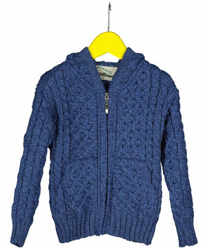 Kids Hooded Zip Cardigan - Marl Blue - [Aran Crafts] - Childrens Sweaters & Cardigans - Irish Gifts