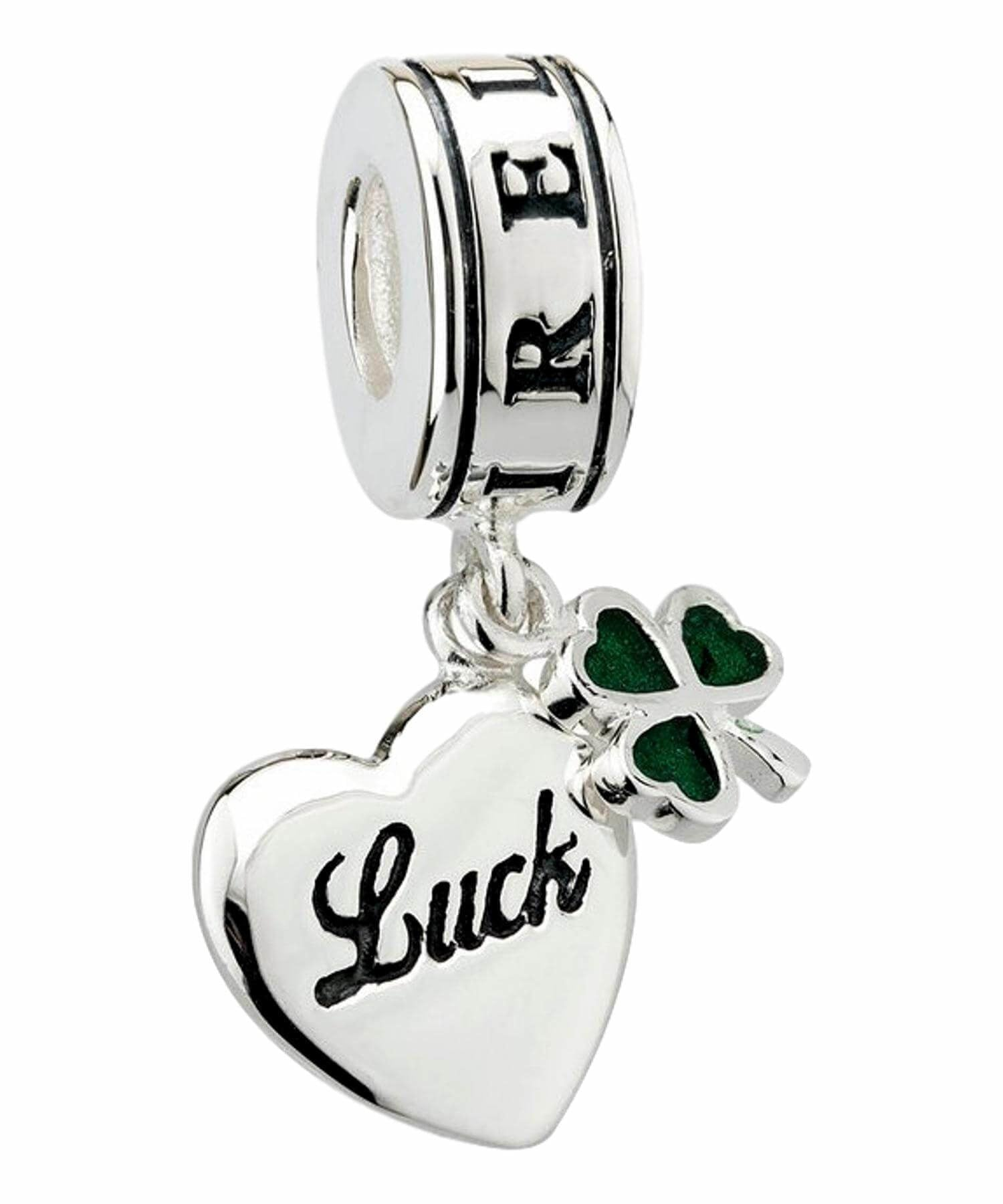 Bead - Heart & Shamrock Dangle Solvar Celtic Jewellery