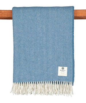 Heritage Wool Throw - Blue Sky - [McNutts] - Throws & Cushions - Irish Gifts