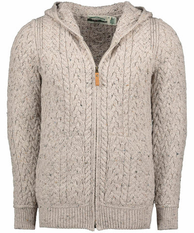Limerick Hooded Cardigan - Oatmeal - [Aran Crafts] - Mens Sweaters & Cardigans - Irish Gifts