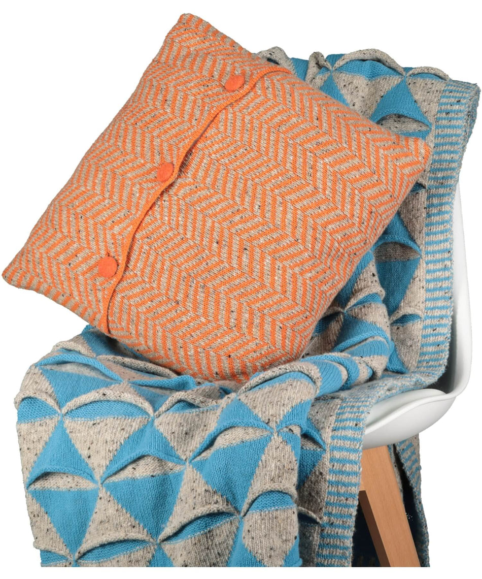"Herringbone Cushion 18"" - Orange - [McConnell] - Throws & Cushions - Irish Gifts"