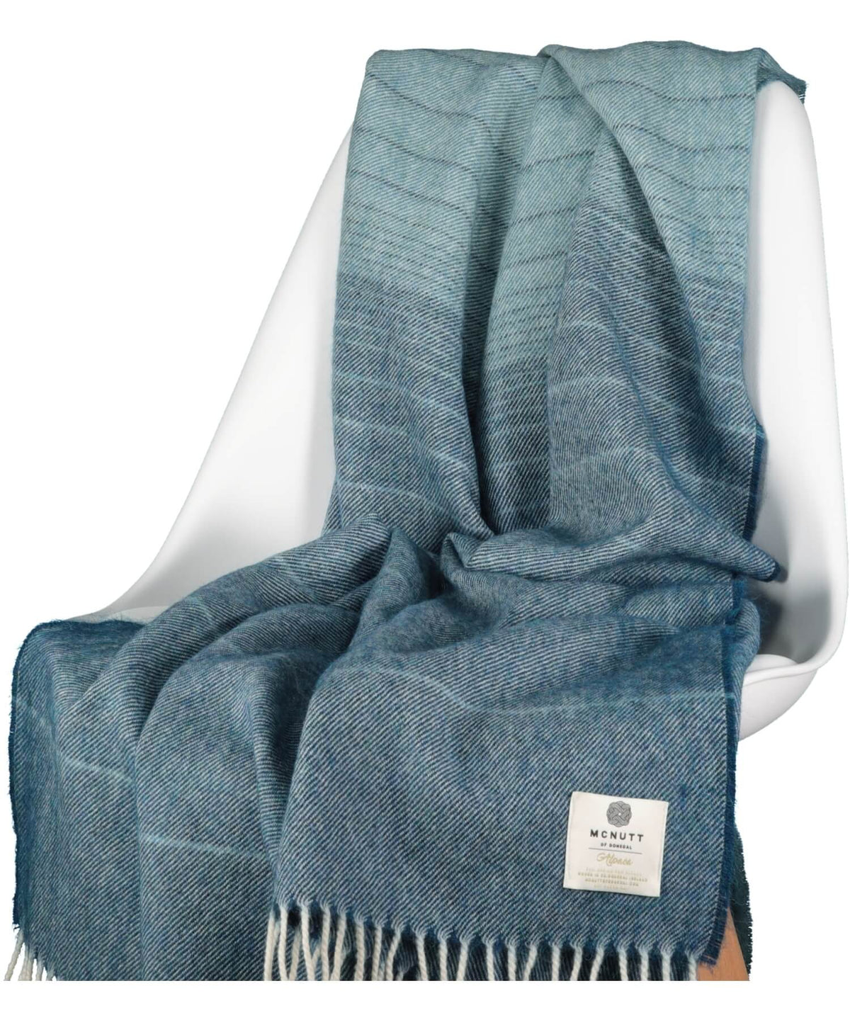 Alpaca Throw - Petrol Ombre - [McNutts] - Throws & Cushions - Irish Gifts