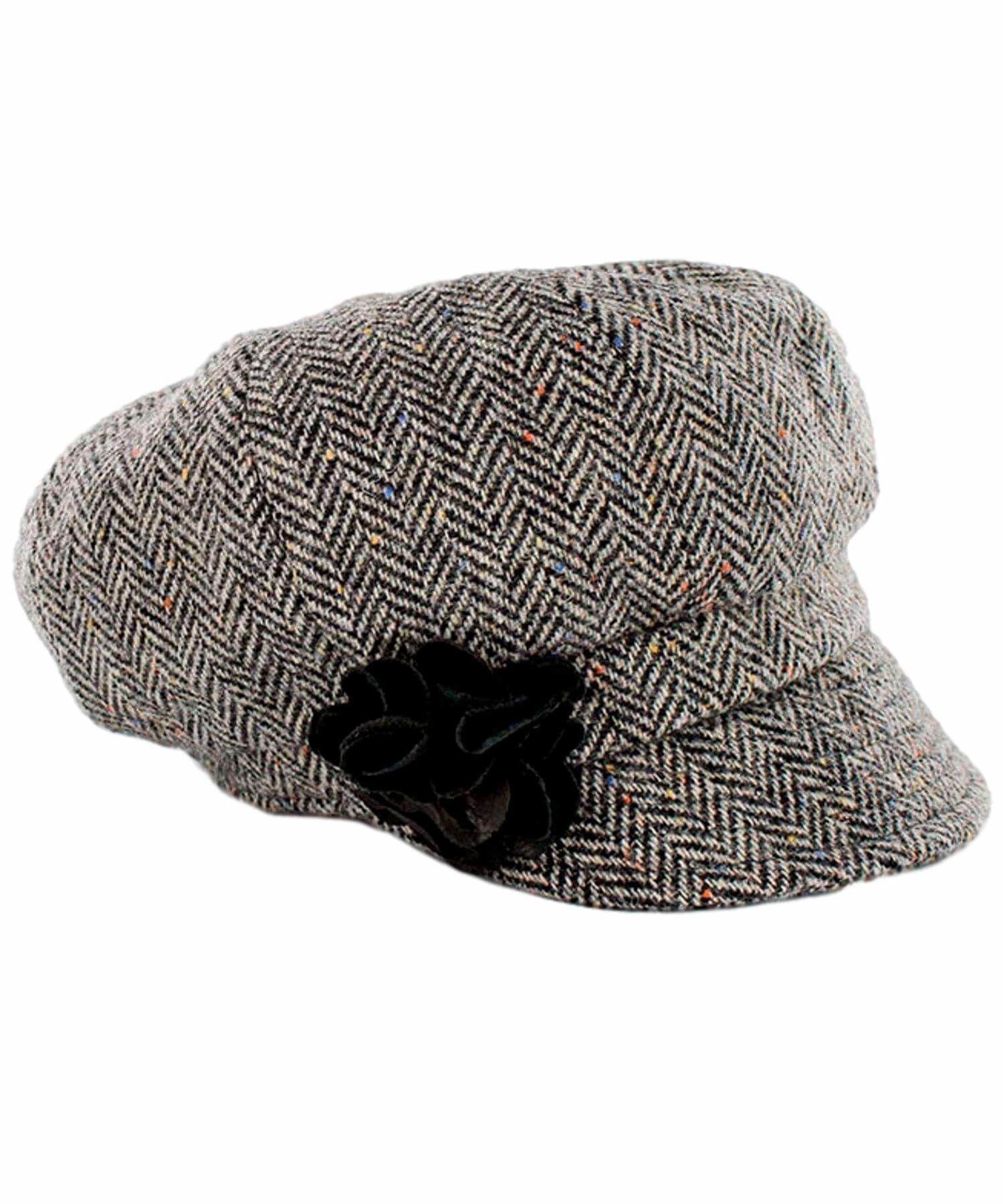 Newsboy Hat - Charcoal Fleck - [Mucros Weavers] - Ladies Hats & Headbands - Irish Gifts