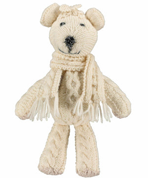 Cable Stitch Teddy - Winter White - [Aran Woollen Mills] - Children & Baby Gifts - Irish Gifts