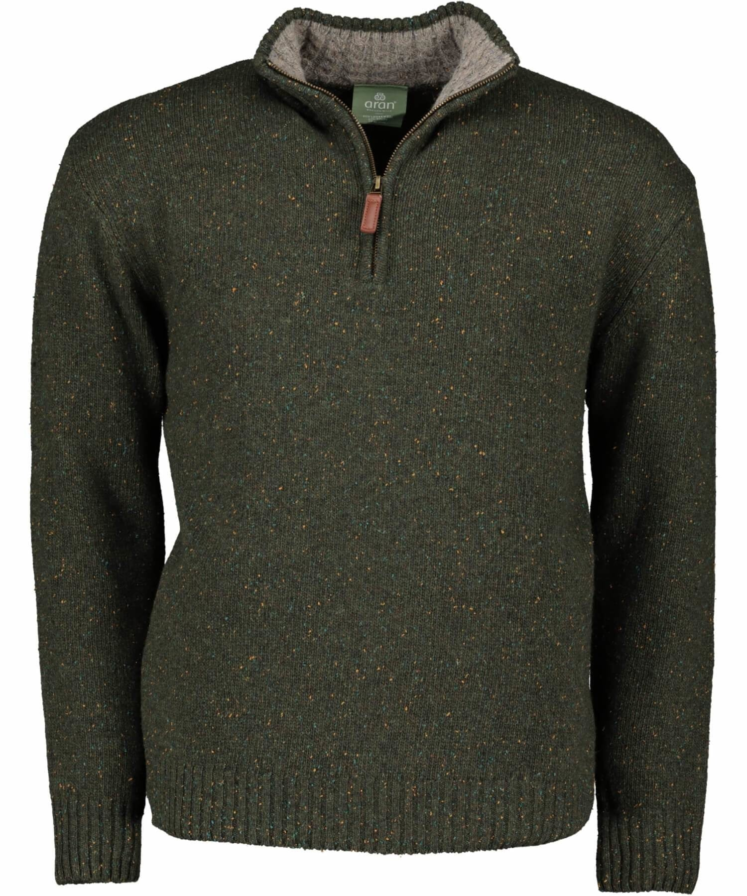 Troyer Zipper - Connemara Green - [Aran Woollen Mills] - Mens Sweaters & Cardigans - Irish Gifts