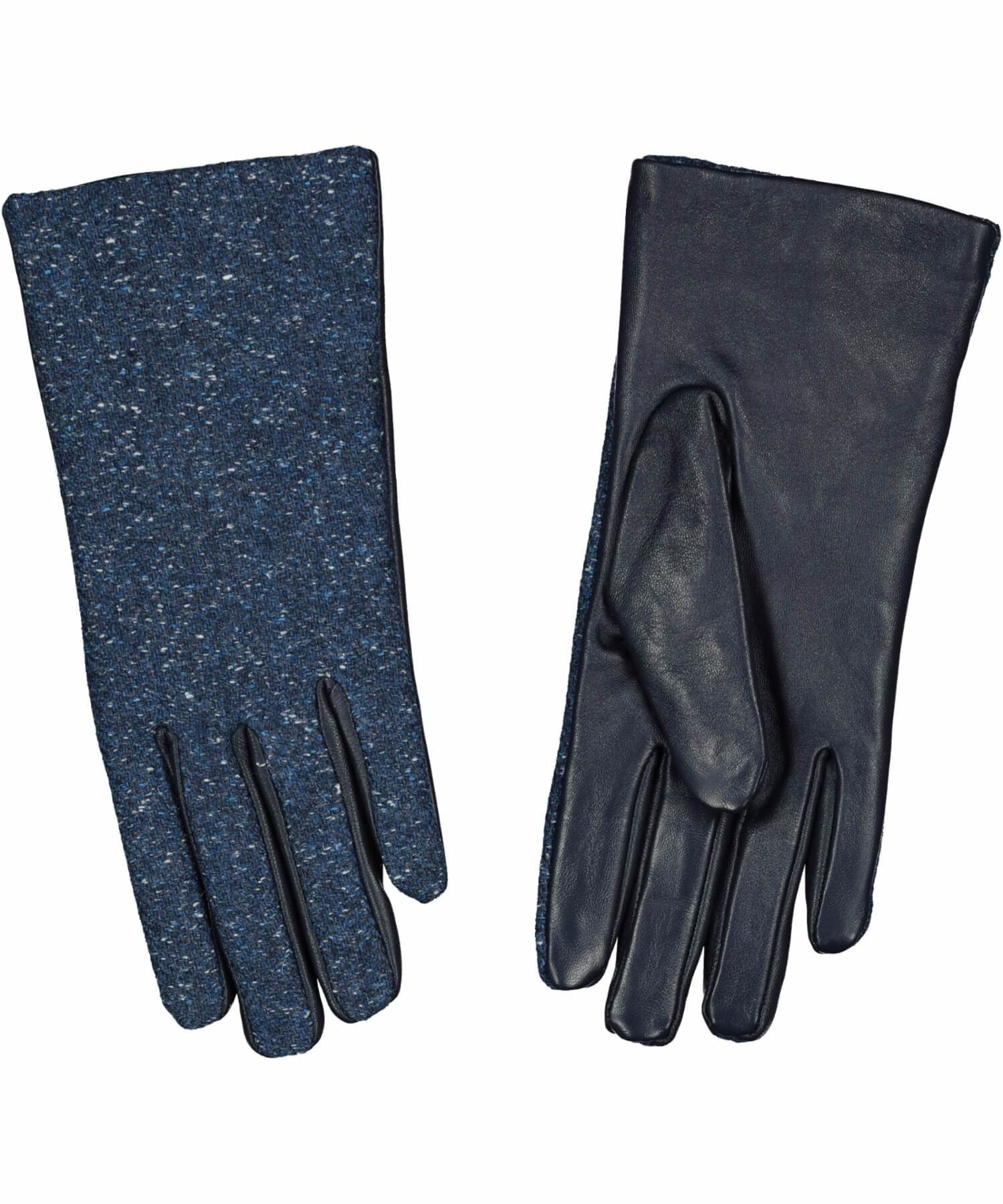 Kerry Tweed Leather Gloves - Midnight Blue - [Aran Woollen Mills] - Ladies Scarves & Gloves - Irish Gifts