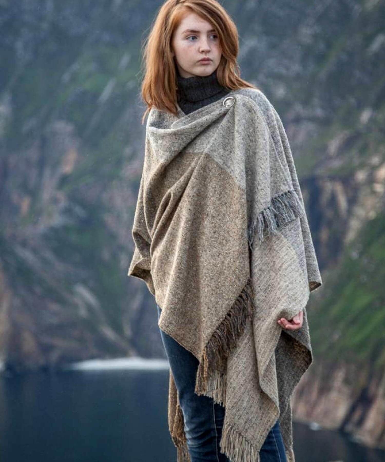 Handwoven Ruana - Berries Studio Donegal Ladies Capes Shawls & Ponchos