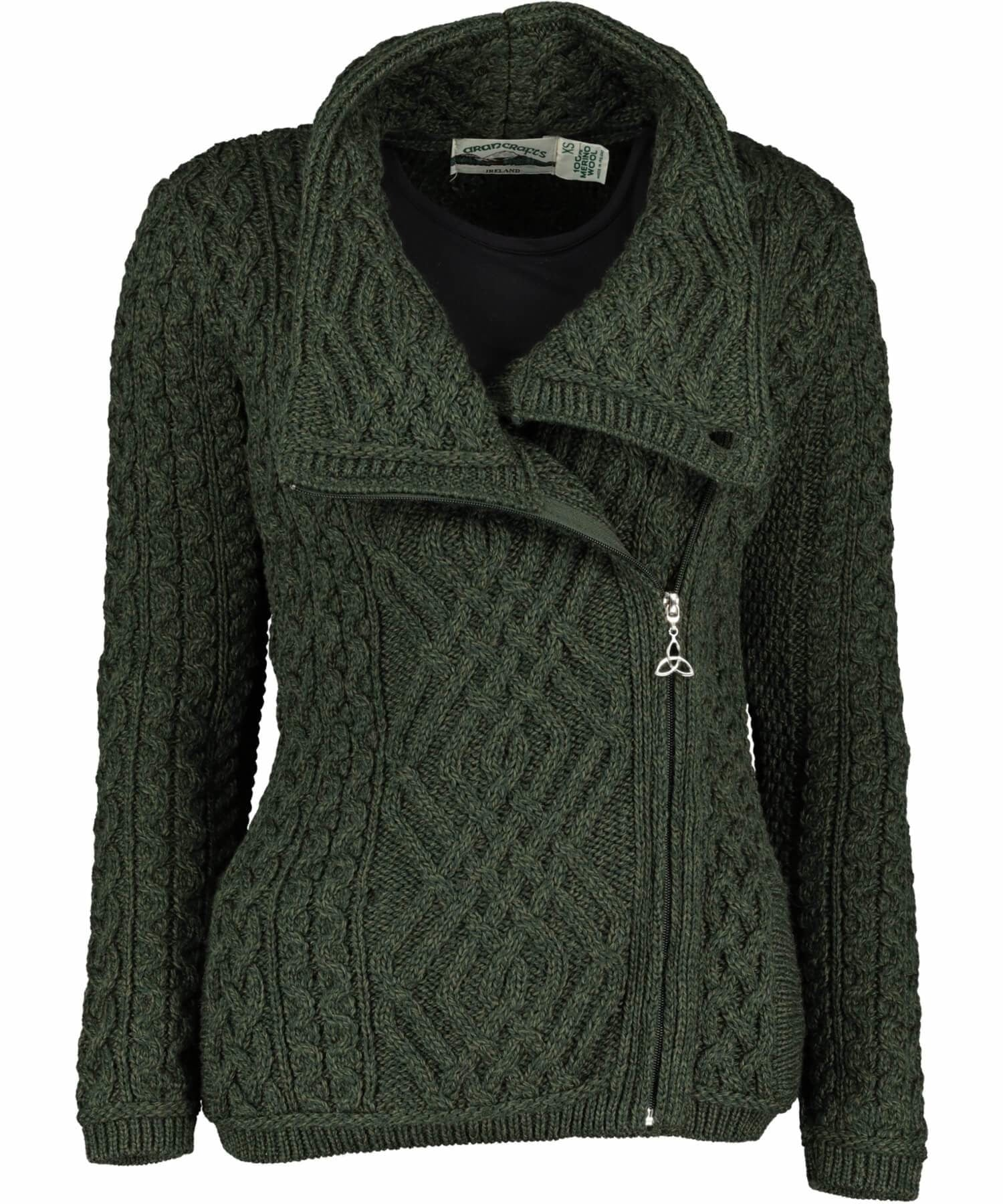 Shannon Side Zip - Army Green - [Aran Crafts] - Ladies Sweaters & Cardigans - Irish Gifts