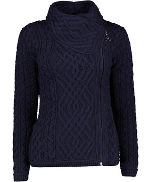 Shannon Side Zip - Navy - [Aran Crafts] - Ladies Sweaters & Cardigans - Irish Gifts