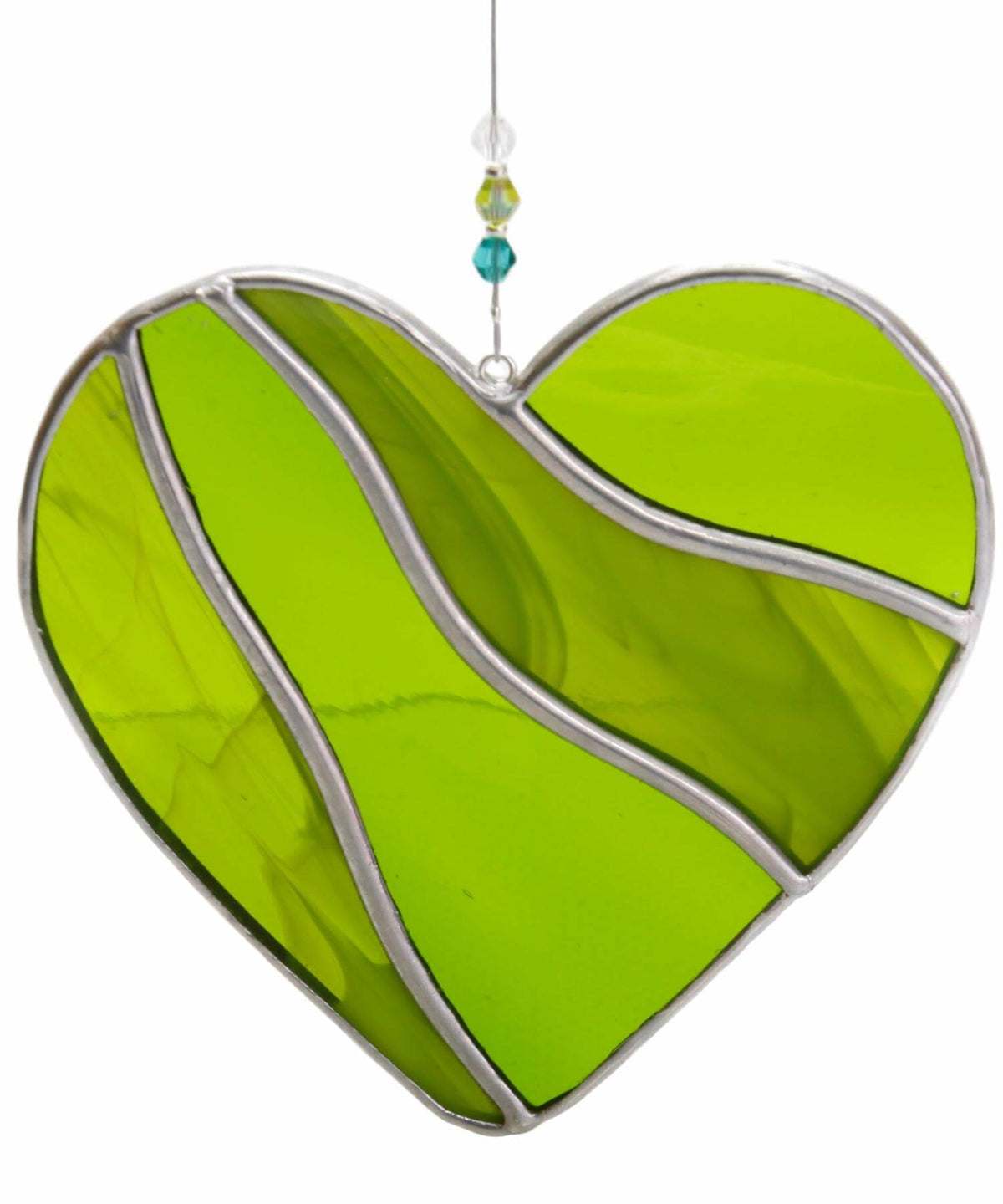 Stained Glass Heart - Green Ard aLume Irish Crystal &
