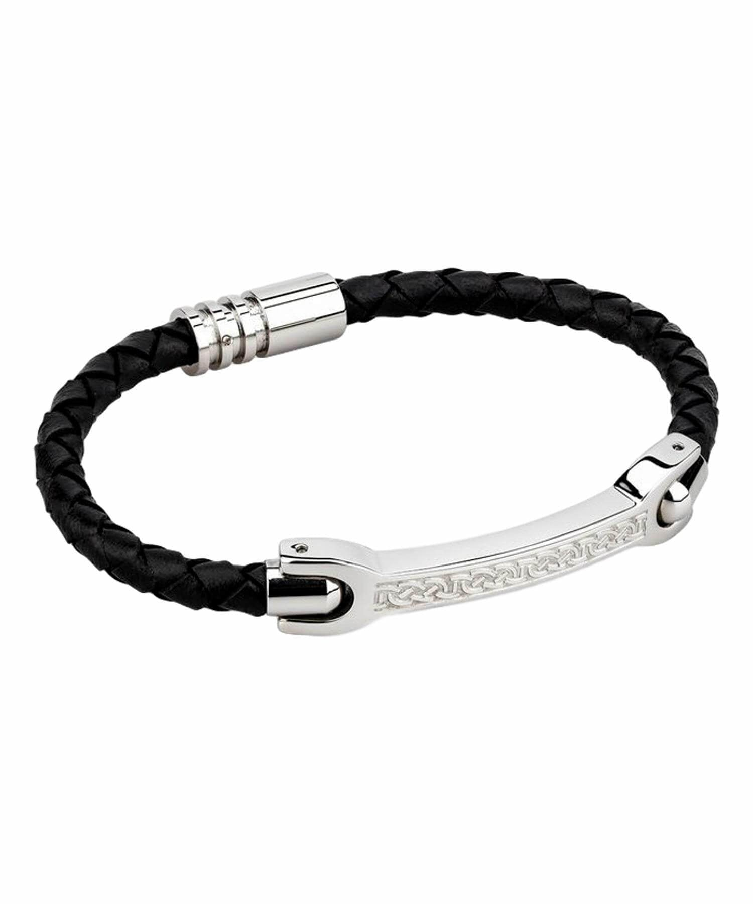 Steel Bracelet - Black Leather Solvar Celtic Jewellery