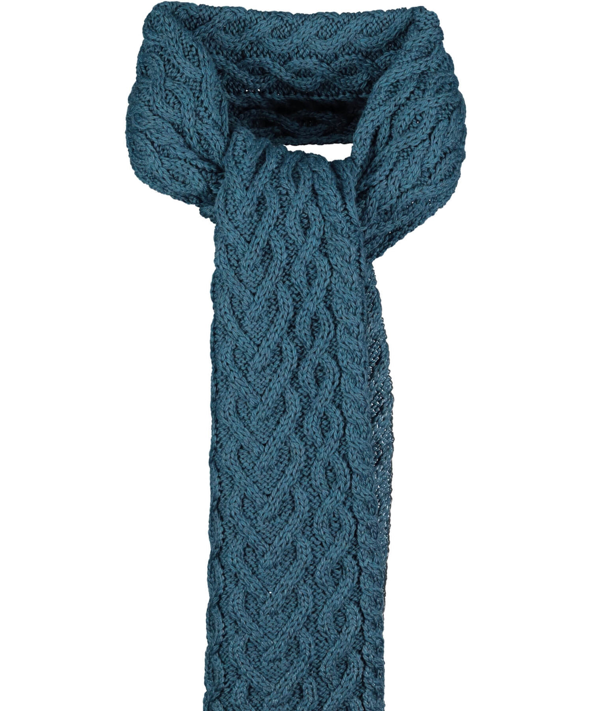 Supersoft Heart Knit Scarf - Teal - [Aran Crafts] - Ladies Scarves & Gloves - Irish Gifts
